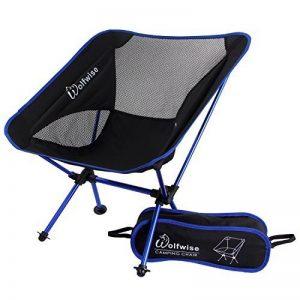 WolfWise Chaise de Plage Pliante Légère et Solide avec Sac de Transport & Mousquetons pour Camping Randonnée Pédestre - Bleu de la marque WolfWise image 0 produit