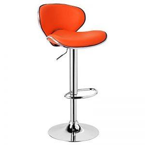 WOLTU BH19or-1,1X Tabouret de bar avec bien assise rembourrée, tabouret en similicuir réglable avec dossier,Orange de la marque WOLTU image 0 produit