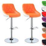 WOLTU BH30or-2 Design 2 couleur Tabouret de bar lot de 2 avec siège bien rembourré,tabourets réglage en hauteur en cuir artificiel,Orange Blanc de la marque WOLTU image 1 produit